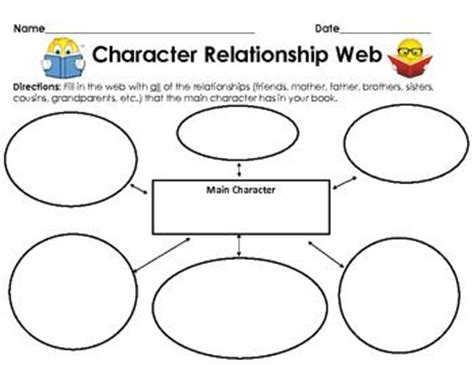 character relationship chart template graphic organizer character relationship web 1 sheet