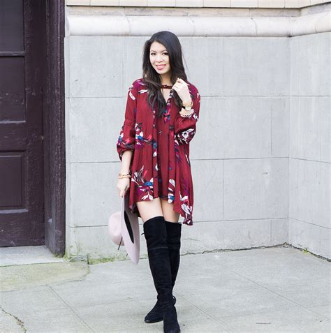 dress with boots swing dress the knee boots just a tina bit