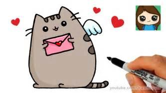 draw pusheen cat valentines love easy