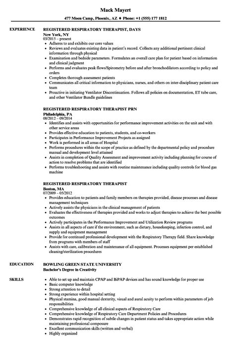 Respiratory Therapist Resume by Registered Respiratory Therapist Resume Sles Velvet