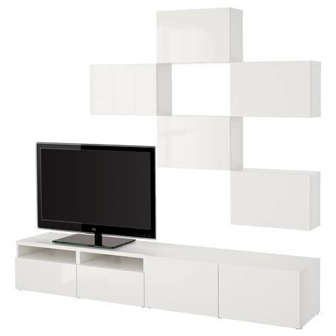 ikea besta furniture best 197 tv storage combination white selsviken high gloss