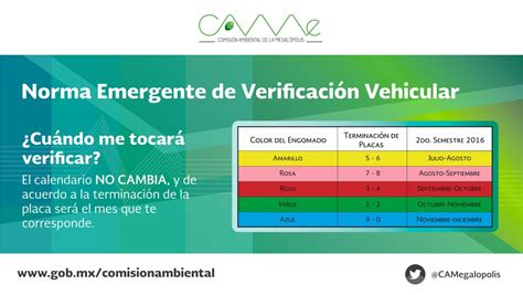Calendario De Verificacion Vehicular Verificacion Vehicular Jalisco Calendario 2016