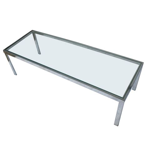 54 quot mid century modern chrome glass coffee table ebay