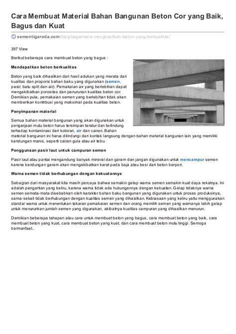 cara membuat yel yel yang bagus cara membuat beton yang baik bahan material bangunan rumah