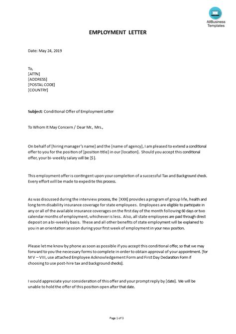 write employment conditional job offer letter