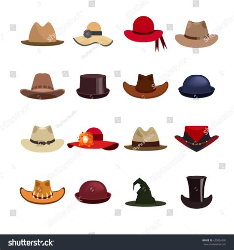 vector set of and hats illustration with