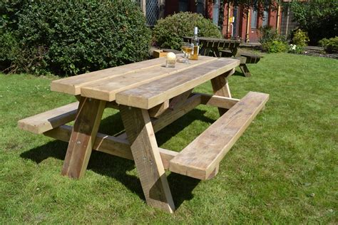 outdoor table and bench picnic bench glasgow wood recycling