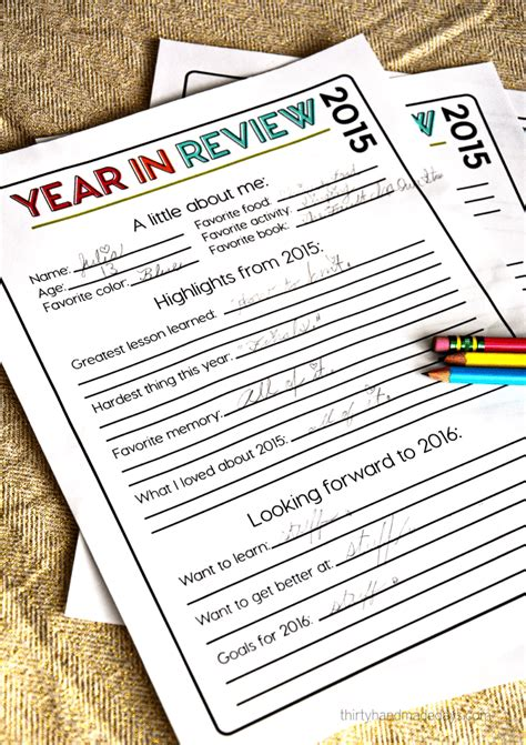 new year reviews printable new year s resolutions for 2016 thirty