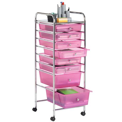 Utility Cart With Drawer by 38 Vonhaus 8 Drawer Pink Rolling Trolley Storage