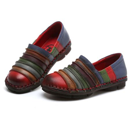 colorful loafers socofy genuine leather colorful comfortable flat loafers