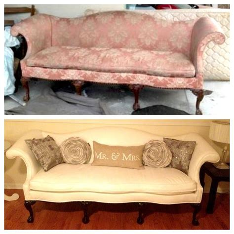 how to reupholster an antique sofa vintage couch before and after furniture reupholster