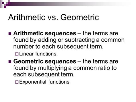 geometric pattern vs arithmetic unit 6 sequences series ppt video online download