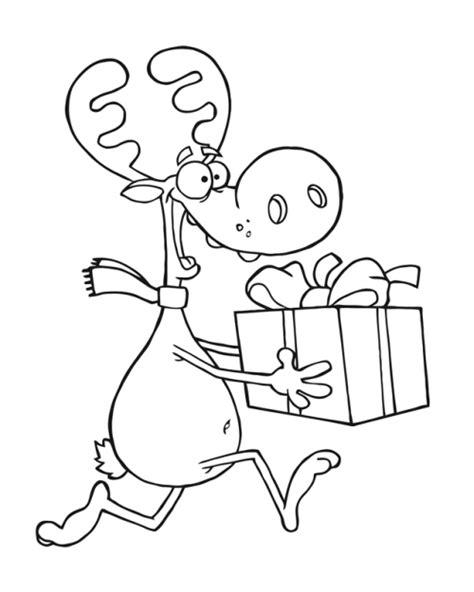 kostenlose malvorlage weihnachten rentier mit geschenk