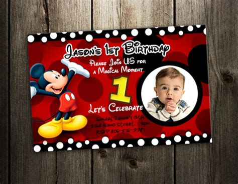 Birthday Invitation Card Mickey Mouse Mickey Mouse Birthday Invitation Party Card Photo Invites