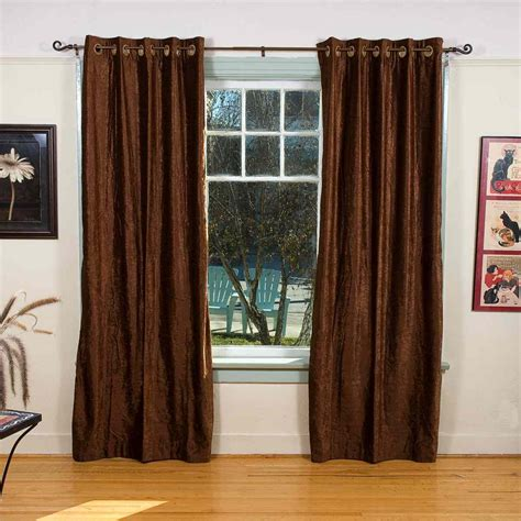 brown panel curtains brown ring grommet top velvet curtain drape panel