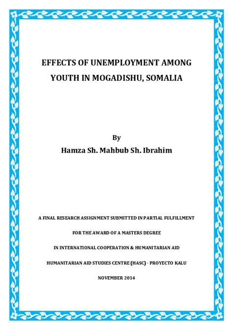 effects  unemployment  youth  mogadishu