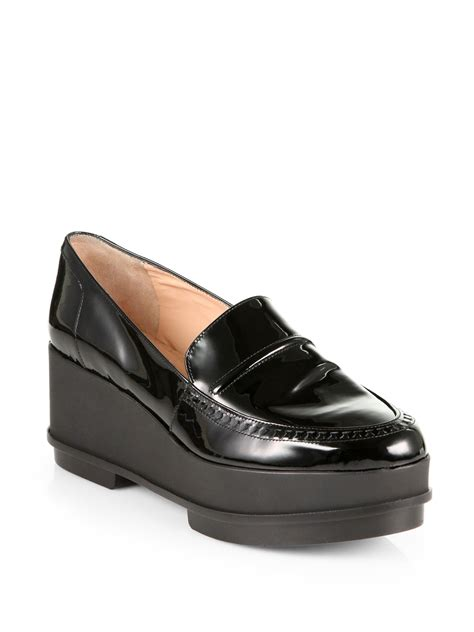 black wedge loafers robert clergerie patent leather platform wedge loafers in