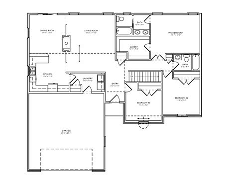 2 bedroom bath ranch floor plans gallery with