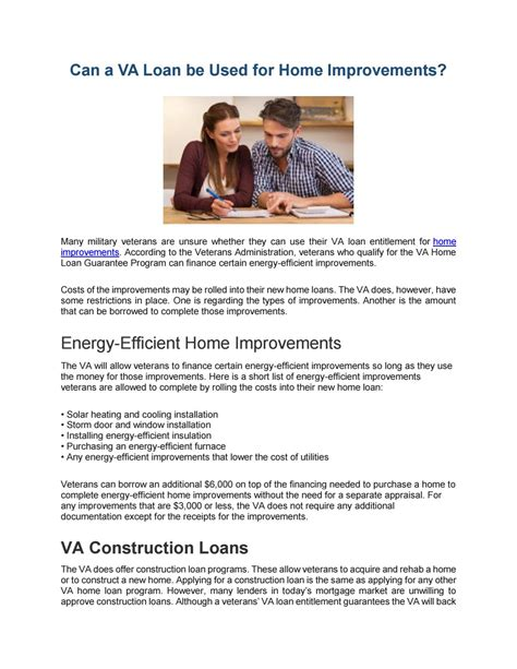 can a va loan be used for home improvements by