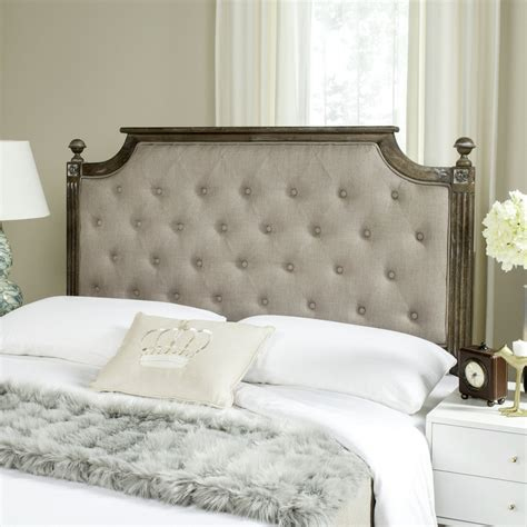 wood and linen headboard rustic wood taupe tufted linen headboard headboards