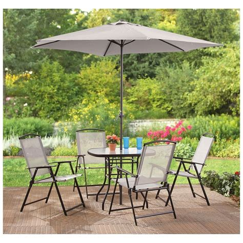 Outdoor Patio Dining Sets With Umbrella 6 Outdoor Dining Set Patio Deck Table Chairs Umbrella Tempered Glass Folds Ebay