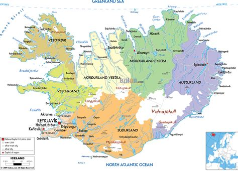 Iceland Map Europe by Political Map Of Iceland Ezilon Maps