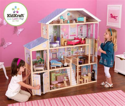 tall doll houses amazon com kidkraft majestic mansion dollhouse with furniture toys games