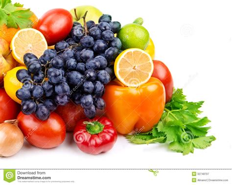 Set Of Different Fruits And Vegetables Royalty Free Stock