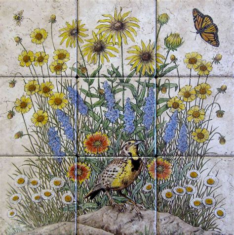 Flowers Floral Garden Scenes Painted Tile Murals Glass by