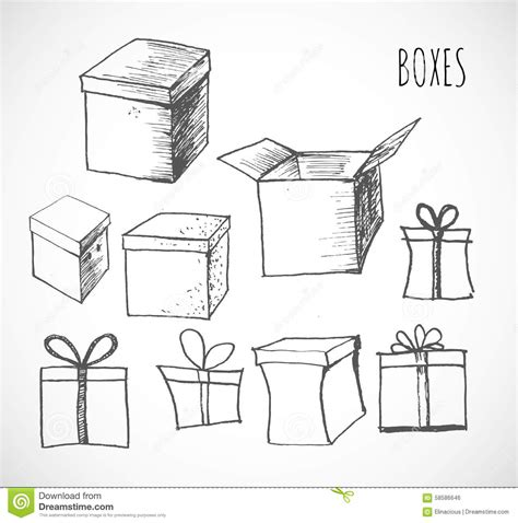 when i doodle i draw boxes sketch of gift boxes stock vector image 58586646