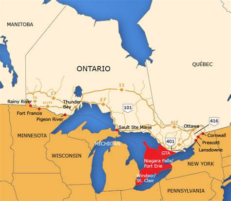 map of us and canada border crossings ontario border map tbwg