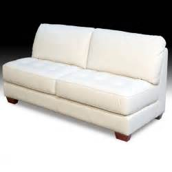 armless all leather tufted seat loveseat loveseats