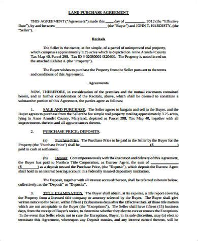 land sale agreement template 8 land purchase agreement sles sle templates
