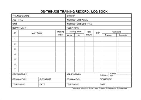 On The Job Training Record Template Business Plan Template Personal Records Template