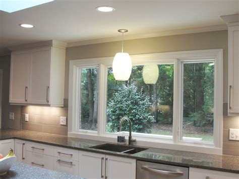 large window sink contemporary kitchen raleigh