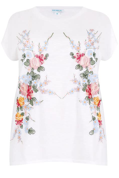 Floral Embroidered Top blue vanilla curve white multi embroidered floral top