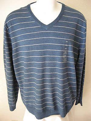 mens wool sweater xxl club room light blue stripe acrylic blend  neck woven  usd