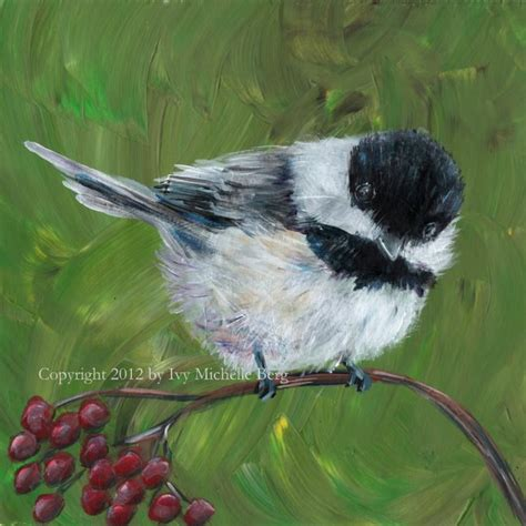 painting birds acrylic chickadee print of acrylic bird painting by artbyivy