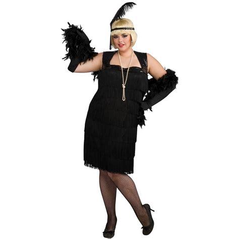 Plus Size Flapper Costume 1920s Costumes 20s Halloween | black flapper dress plus size adult womens sexy roaring
