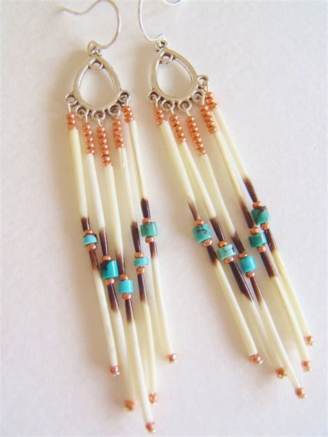 how to make porcupine quill jewelry navajo inspired porcupine quill dangle earrings