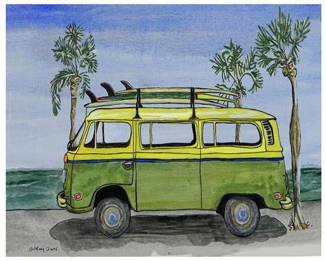 volkswagen bus painting surf art vw bus and long boards painting by w gilroy