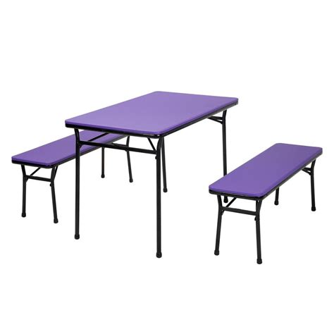 Folding Table And Bench Set Cosco 3 Purple Folding Table And Bench Set 37331pnb1e The Home Depot