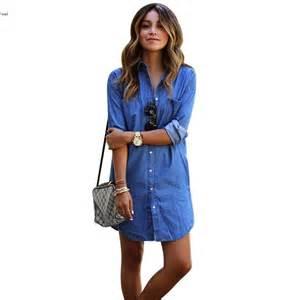 long sleeve denim dresses women autumn spring new fashion