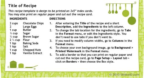 recipe card 3x5 template recipe card templates free premium templates
