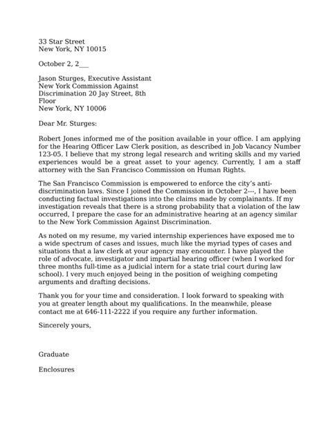 Clerkship Cover Letter by District Court Clerkship Cover Letter