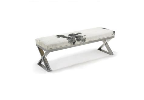 cow hide bench ottoman chaise rental for home staging by luxury furniture in toronto