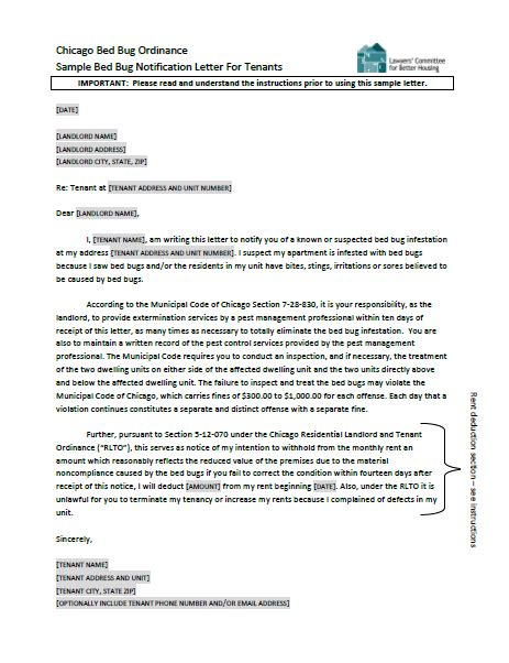 sample bed bug notification letter  tenants lawyers