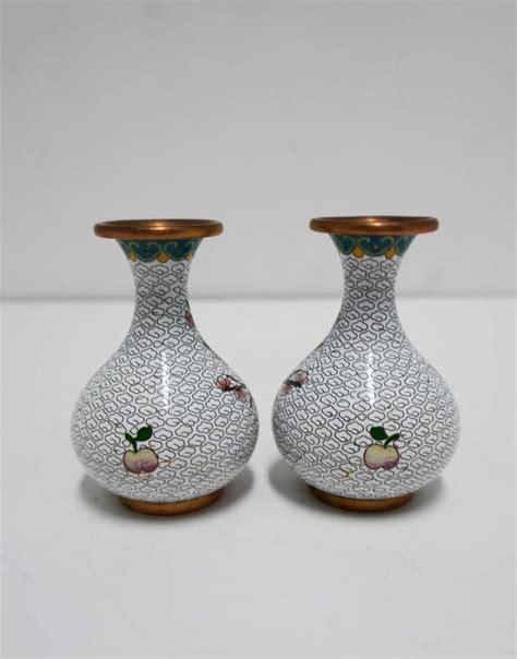 Vintage White Vases by Pair Vintage White Cloisonne Vases For Sale At 1stdibs