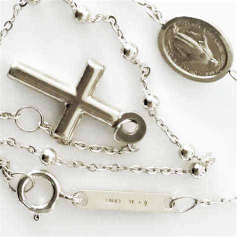 9ct white gold rosary necklace italy