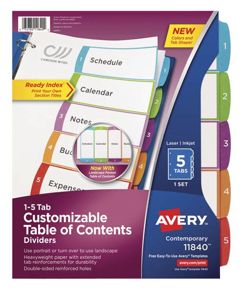 Avery Ready Index Table Of Contents Dividers 5 Tabs Multiple Colors 36 Per Set School Avery 25 Tab Table Of Contents Template